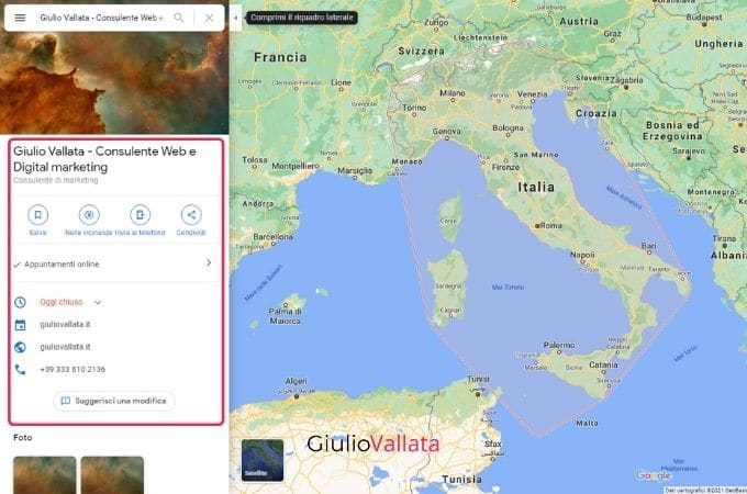 Search activity on Google Maps