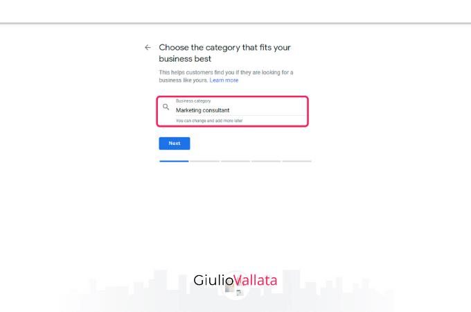 Category choose Google My Business profile