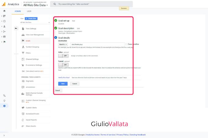 Google Analytics goal setup step two