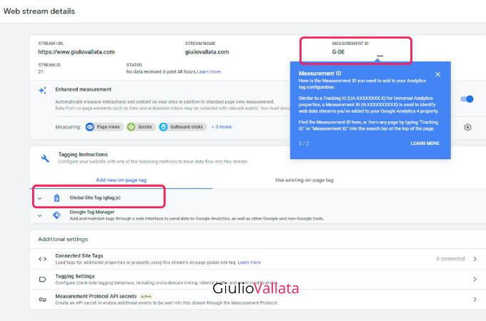 Google Analytics 4 web stream creation