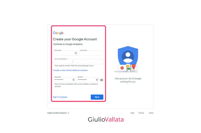 Google Analytics account creation data