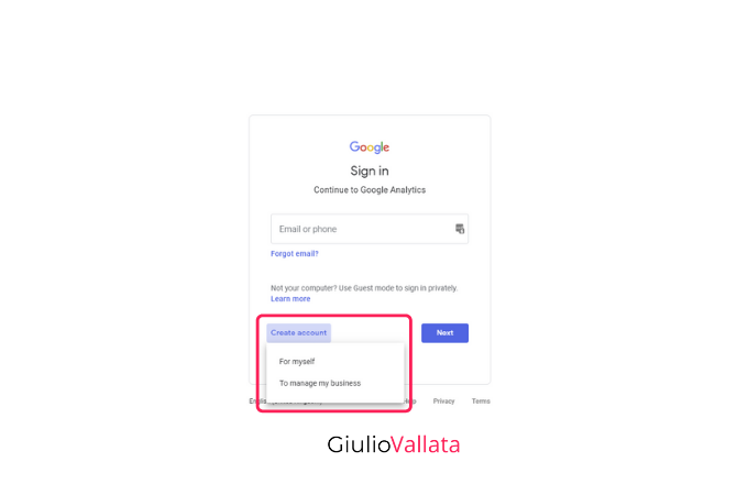 Google Analytics account creation method