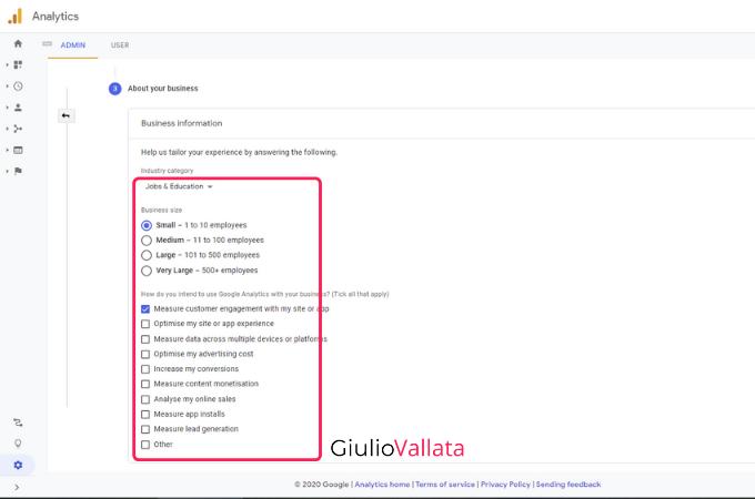 Google Analytics account creation step three