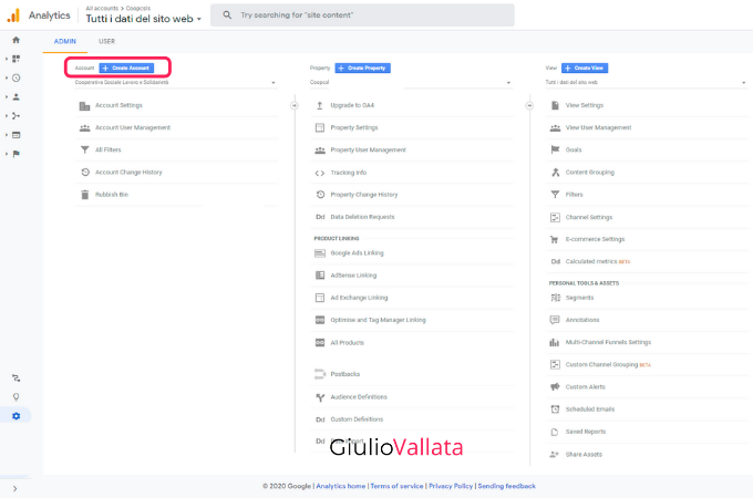 Google Analytics admin account creation
