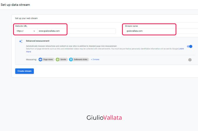 Google Analytics enter URL