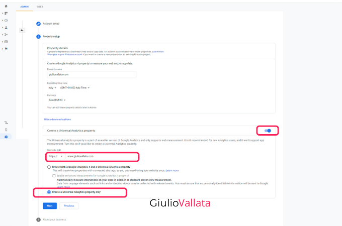 Google Analytics, setup Universal Analytics account