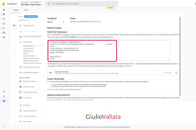 Google Analytics UA tracking code created