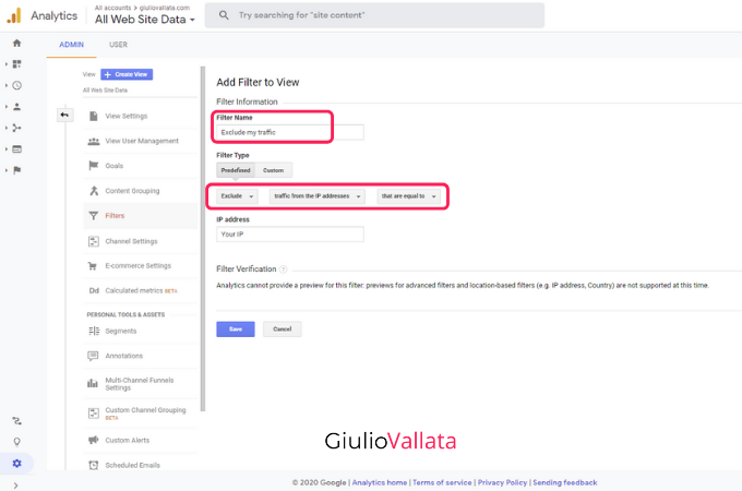 Google Analytics internal traffic exclusion