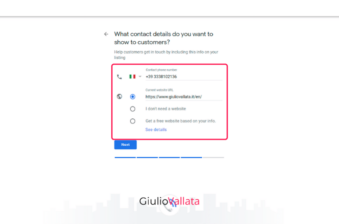Google My Business profile contact data