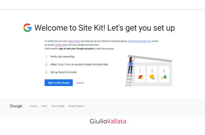 Site Kit by Google plugin setup on WordPress